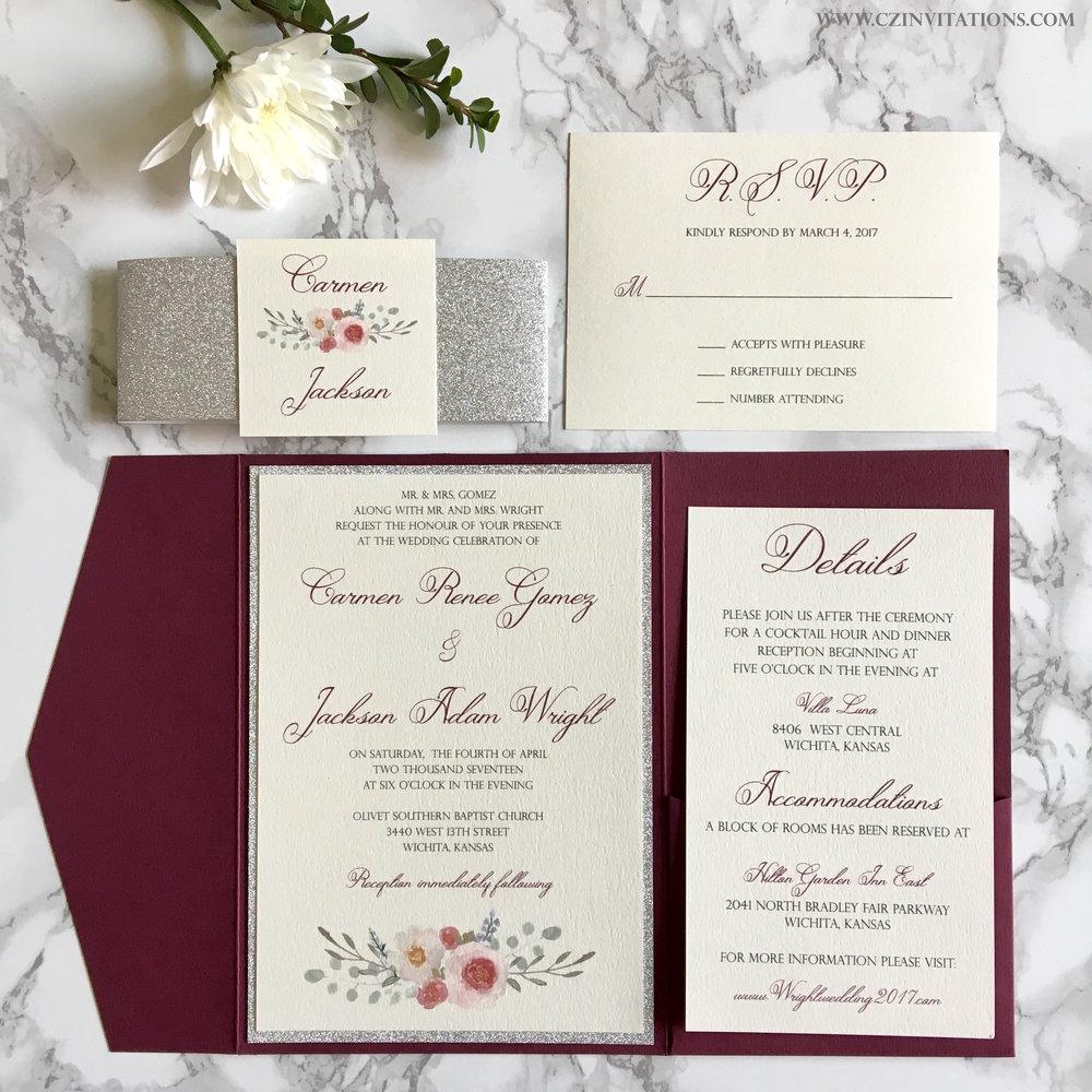 Burgundy and Silver Glitter Pocket Wedding Invitation — CZ INVITATIONS