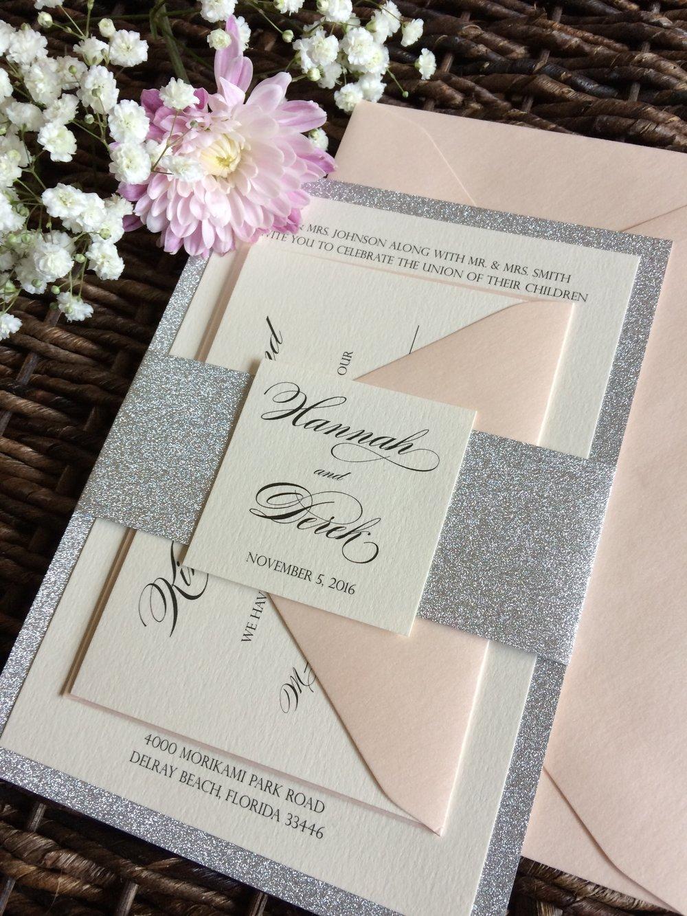 Silver Glitter And Blush Wedding Invitation ...