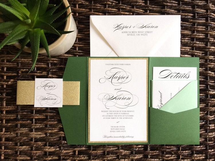Green And Gold Glitter Pocket Wedding Invitation