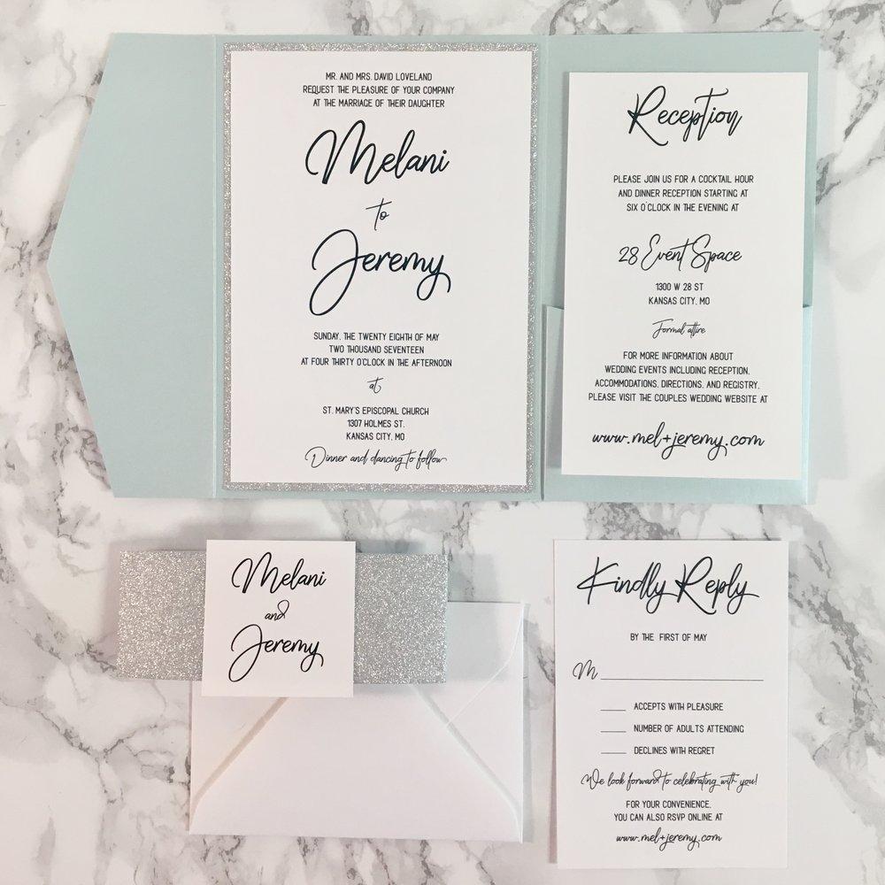 Handwritten Aquamarine and Silver Glitter Pocket Wedding Invitation ...