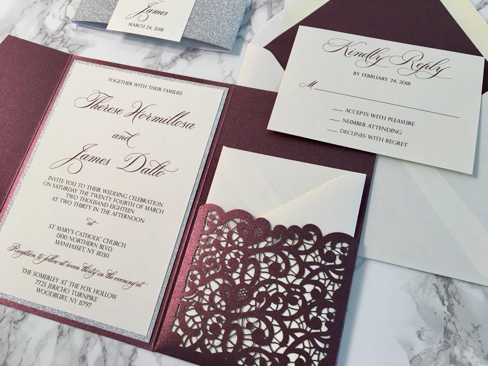 Sparkling Merlot And Silver Glitter Lace Laser Cut Wedding Invitation