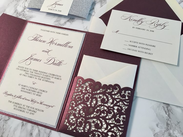 sparkling merlot and silver glitter lace laser cut wedding