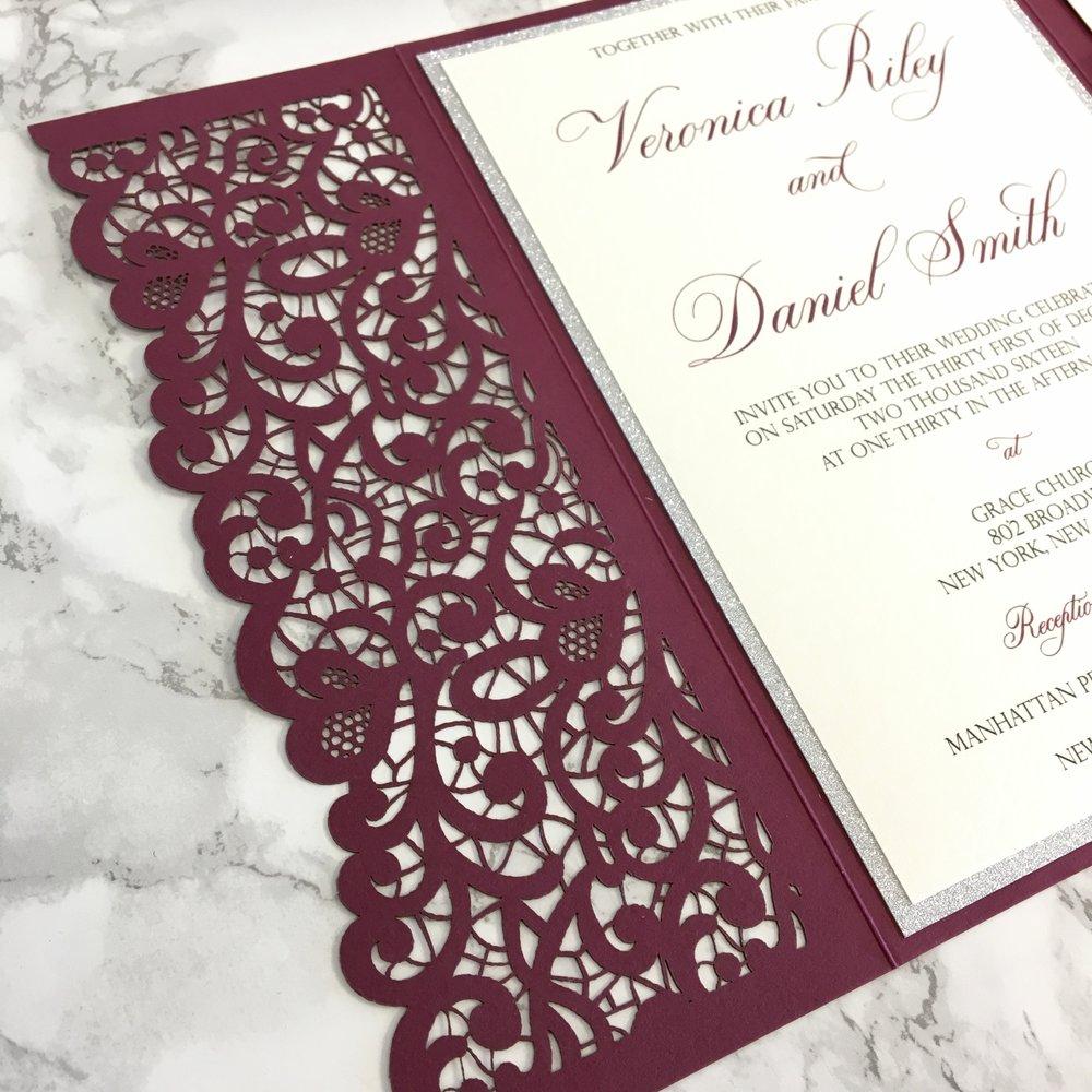 Lace Flap Laser Cut Pocket Wedding Invitation — CZ INVITATIONS