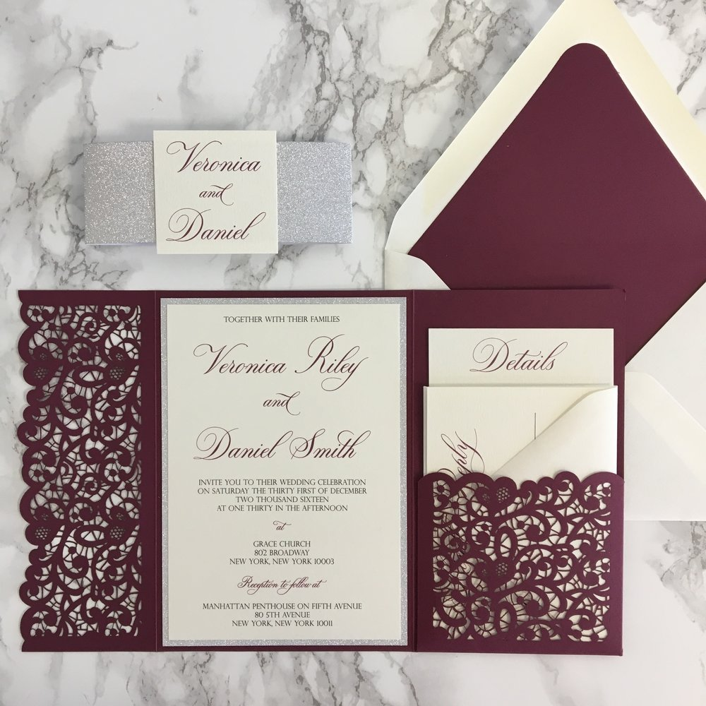Lace flap laser cut pocket wedding invitation cz invitations for Wedding invitations jacket pocket