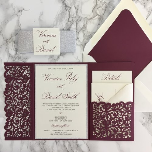 Lace flap laser cut pocket wedding invitation cz invitations lace flap laser cut pocket wedding invitation stopboris Gallery