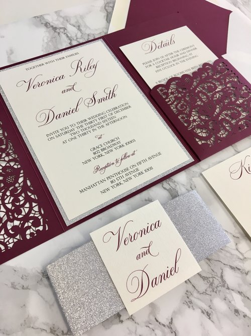 Lace Flap Laser Cut Pocket Wedding Invitation Cz Invitations