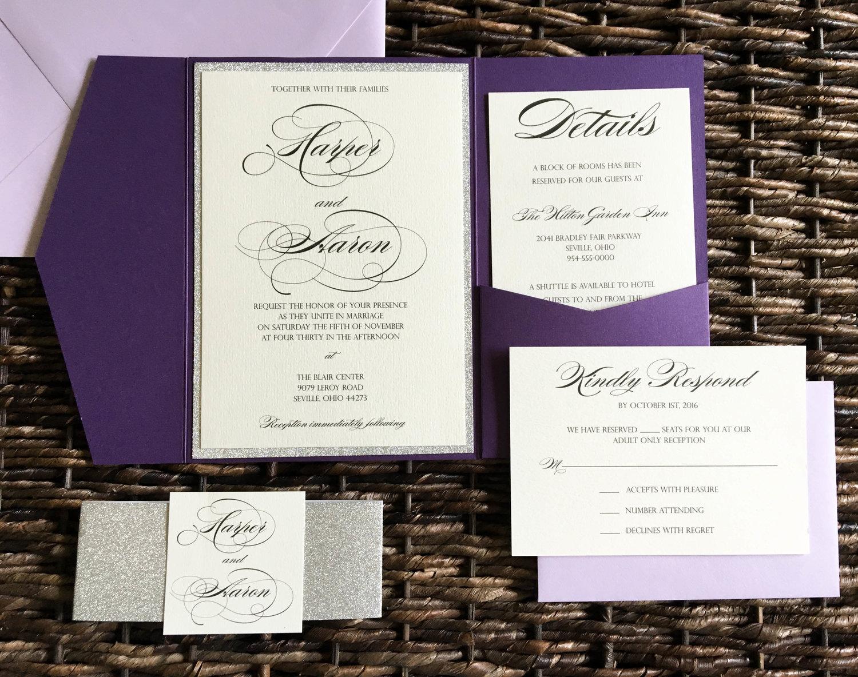 Plum and Silver Glitter Wedding Invitations with Light Purple ...