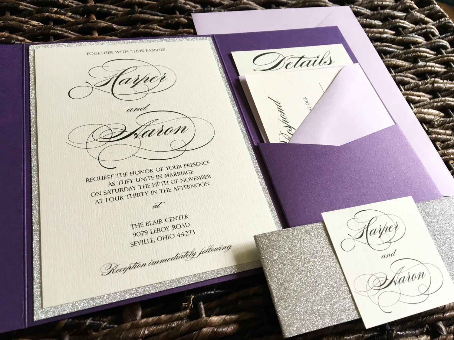 Plum and Silver Glitter Wedding Invitations with Light Purple ...