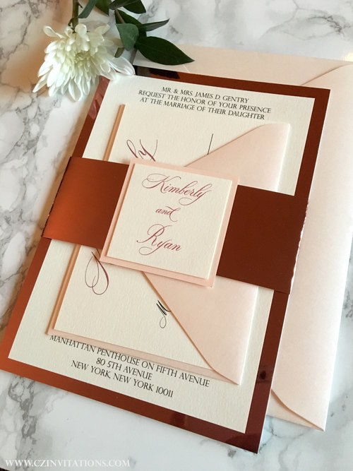 Rose Gold Mirror And Blush Wedding Invitation Cz Invitations