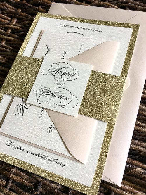 gold glitter wedding invitation with blush envelopes - Gold Glitter Wedding Invitations