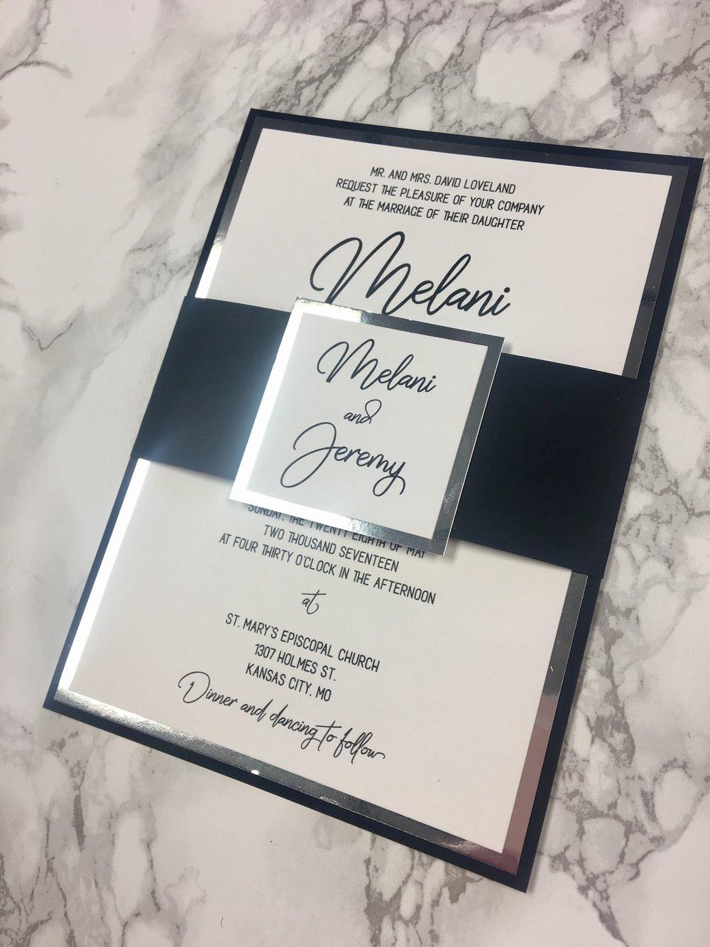 Black and Silver Mirror Wedding Invitation — CZ INVITATIONS