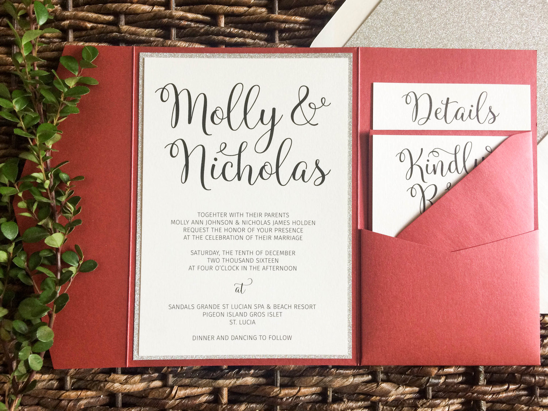 Mars and Silver Glitter Pocket Wedding Invitation — CZ INVITATIONS