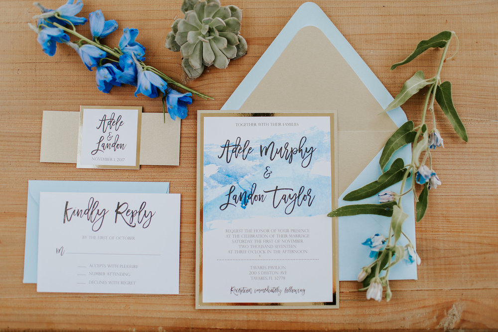 Blue and Gold watercolor invitation