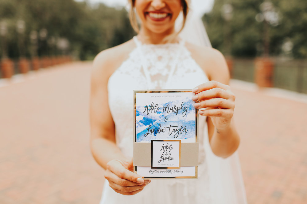 Bride with Blue Watercolor invitation
