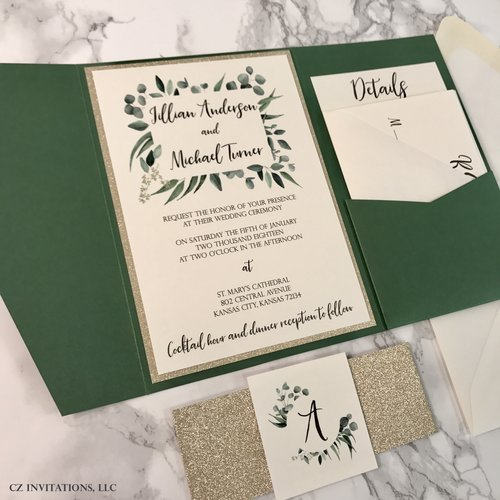 eucalyptus forest green and gold glitter wedding invitation cz