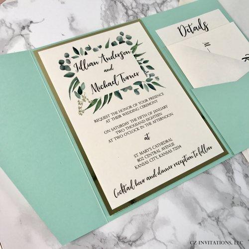 eucalyptus mint and gold mirror wedding invitation cz invitations