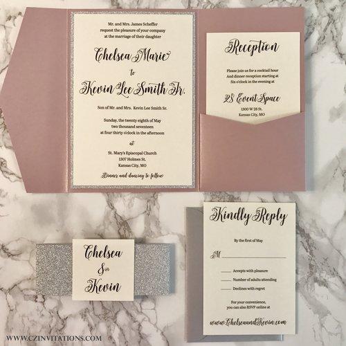 Misty Rose And Silver Glitter Pocket Wedding Invitation Cz Invitations