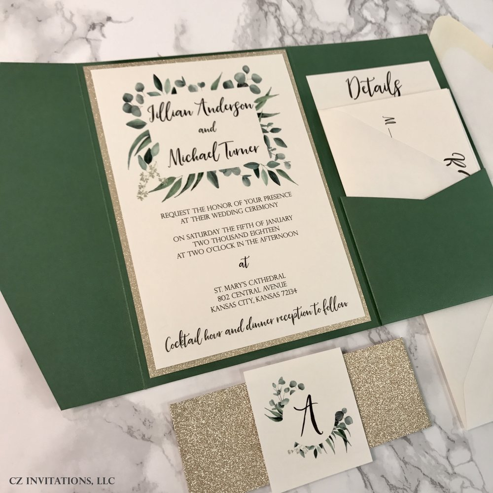 Eucalyptus Forest Green and Gold Glitter Wedding Invitation — CZ ...