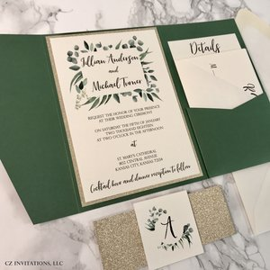 eucalyptus forest green and gold glitter wedding invitation - Gold Glitter Wedding Invitations