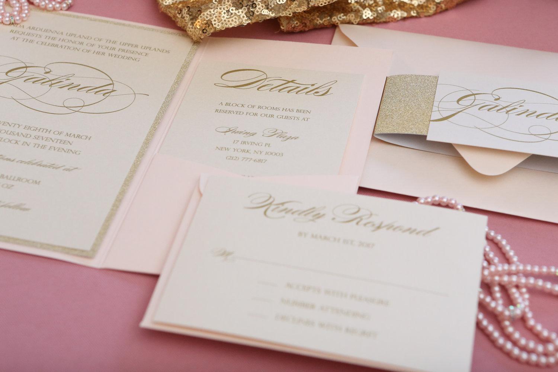 Blush and Gold Glitter Pocket Wedding Invitation — CZ INVITATIONS