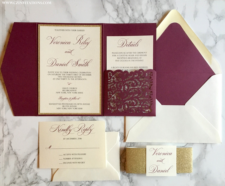 Lace Cut Pockets - Pocket Only — CZ INVITATIONS
