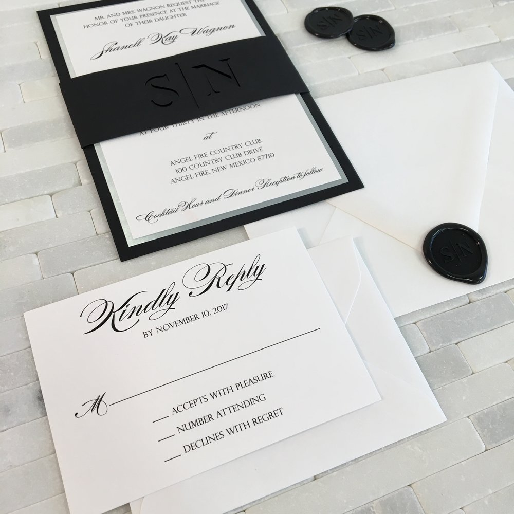 Black and Silver Wedding Invitation with Laser Cut Belly Band — CZ ...