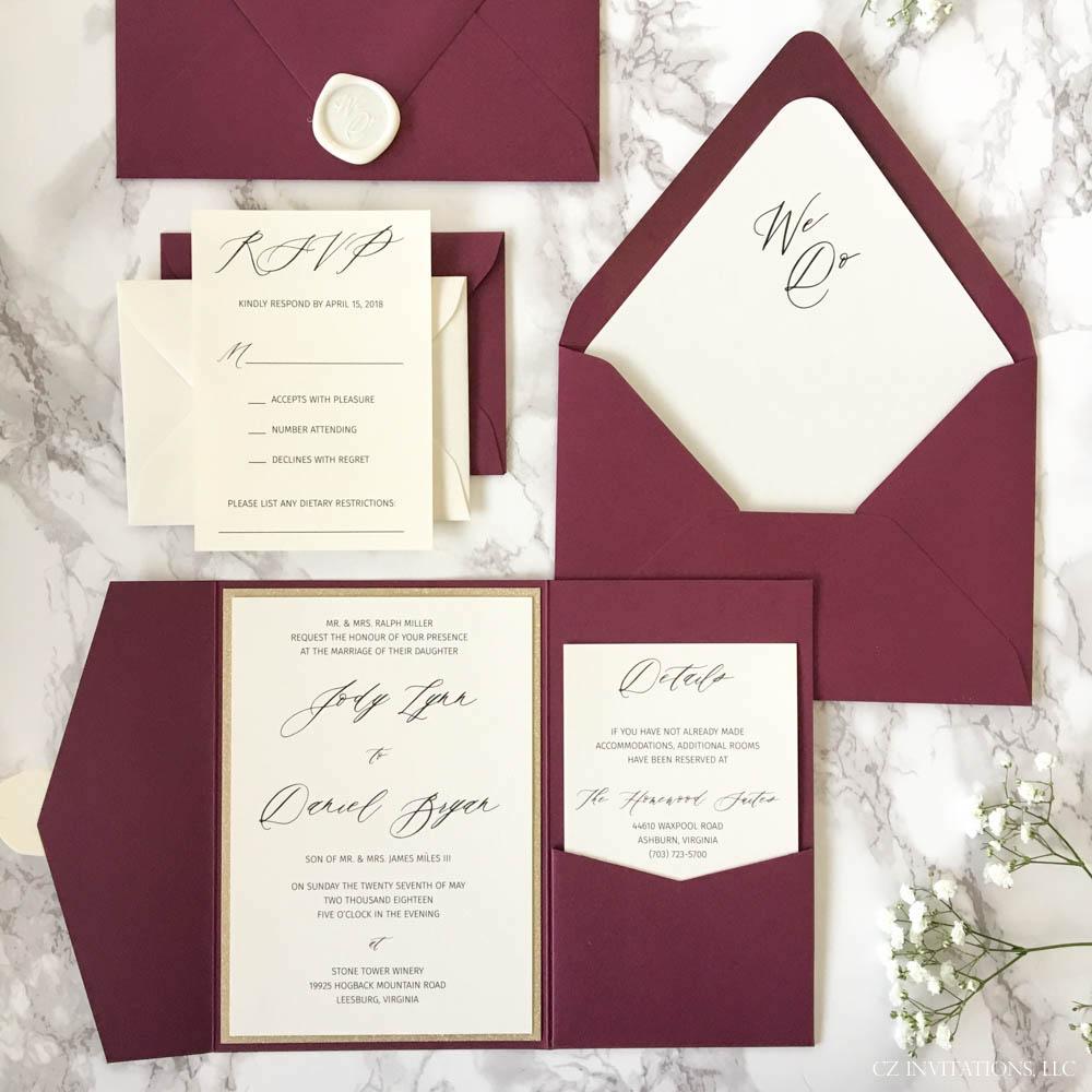 Burgundy and Gold Glitter Pocket Wedding Invitation — CZ INVITATIONS