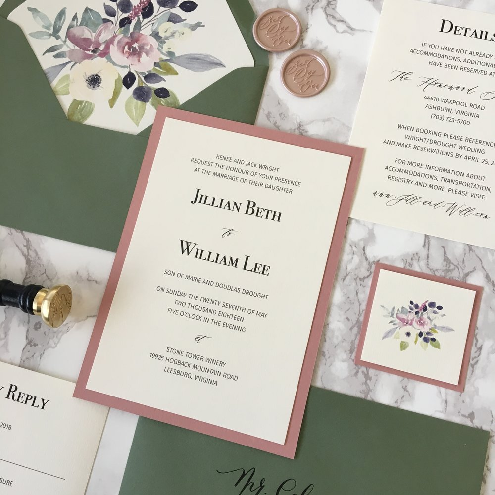 Dusty Pink and Dark Green Wedding Invitation — CZ INVITATIONS