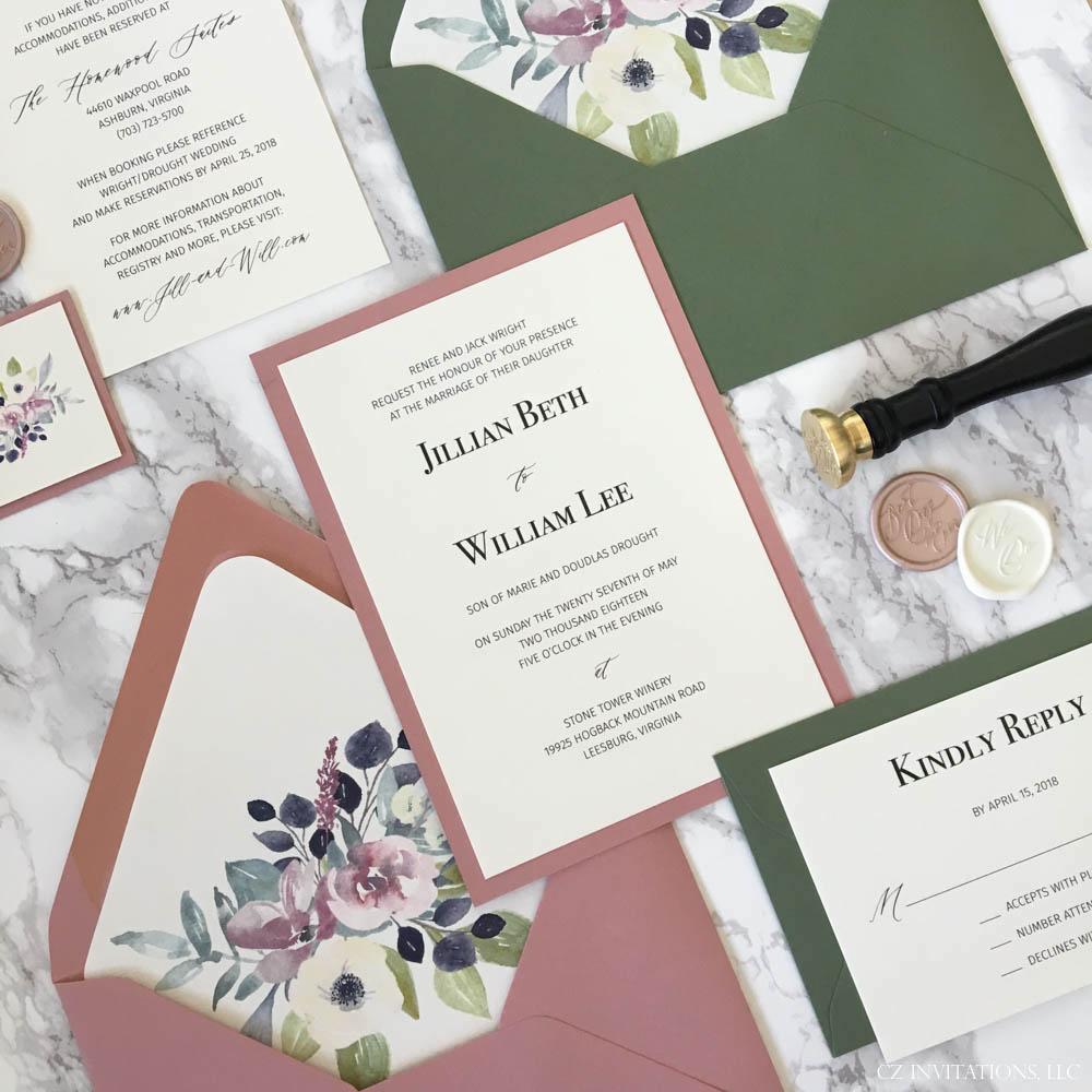 Dusty Pink and Dark Green Wedding Invitation — CZ INVITATIONS