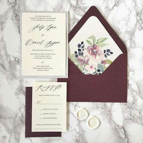 Plum and Silver Glitter Wedding Invitation — CZ INVITATIONS e19b7a457a06