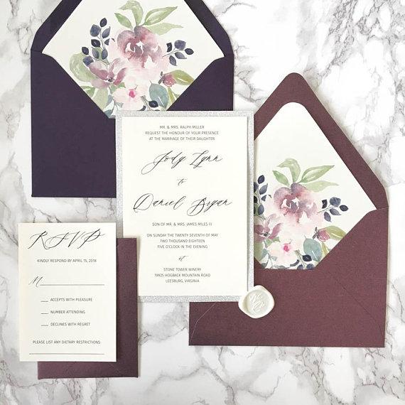 Plum And Silver Wedding Invitations: CZ INVITATIONS