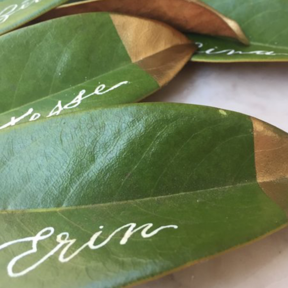 gold-dipped-DIY-leaf-place-card
