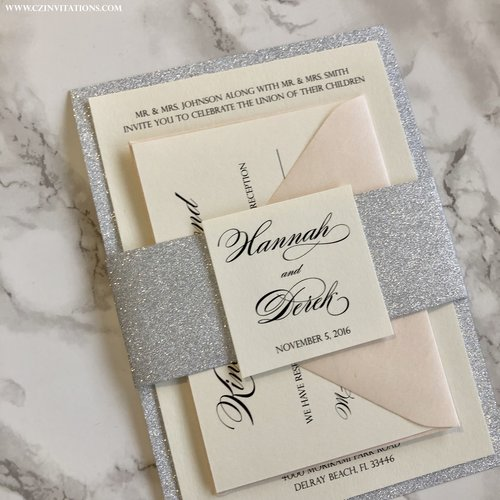 Silver Glitter Wedding Invitation with Glitter Belly Band. IMG 5352 copy.jpg 96002d2d8ad4
