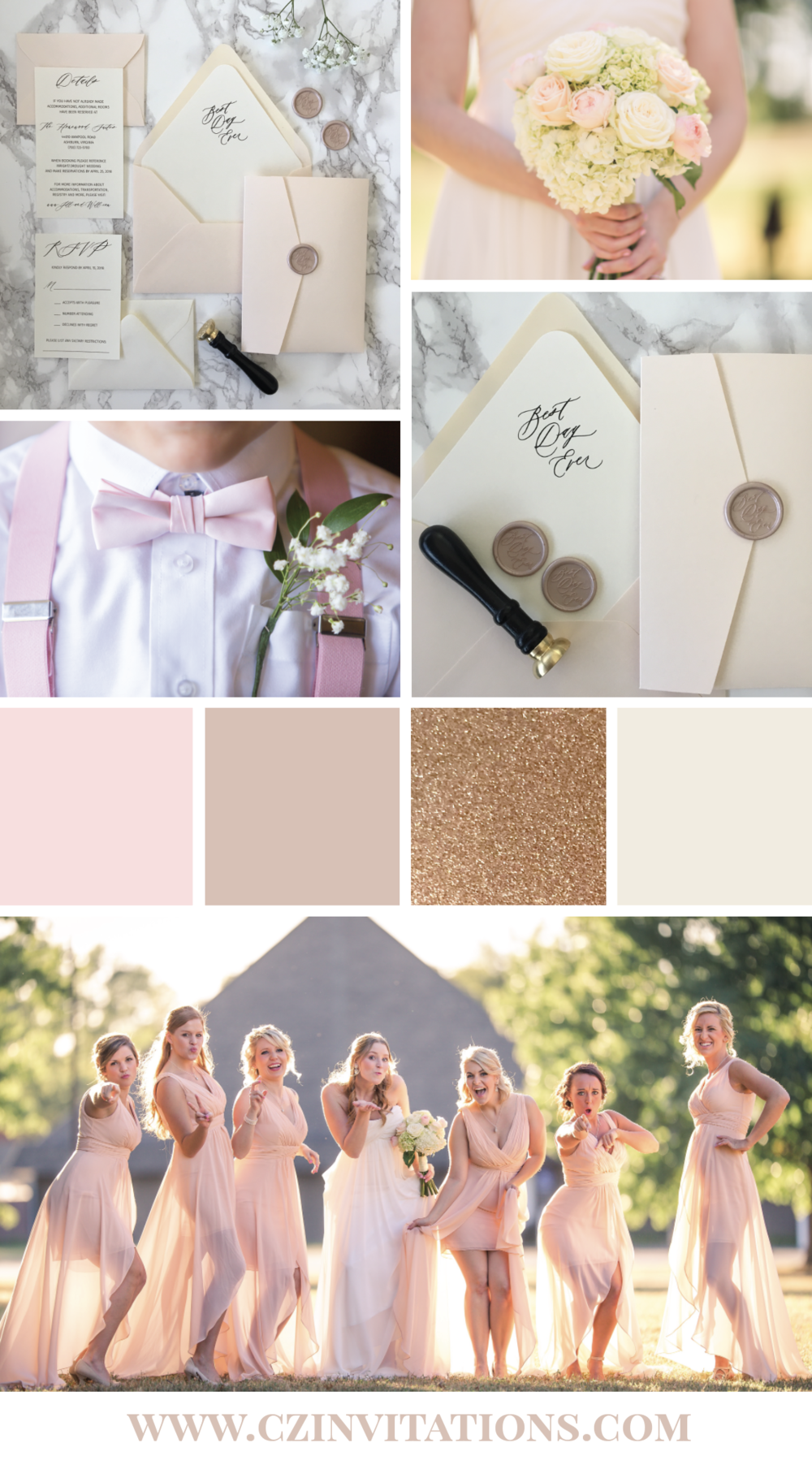 Blush is a classic and unique color that can be paired with a variety of colors, especially for a wedding! This color palette features Blush, Ivory, Champagne and Rose Gold Glitter for a pop of sparkle and shine!