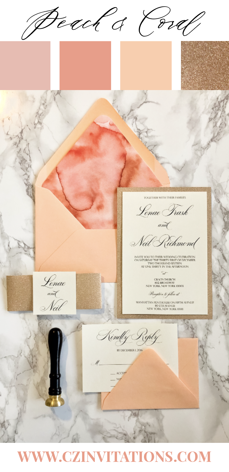 Peach and Coral make a stunning pair with Rose Gold Glitter! This invitation is ideal for a bright, colorful, and sparkly Spring or Summer wedding!