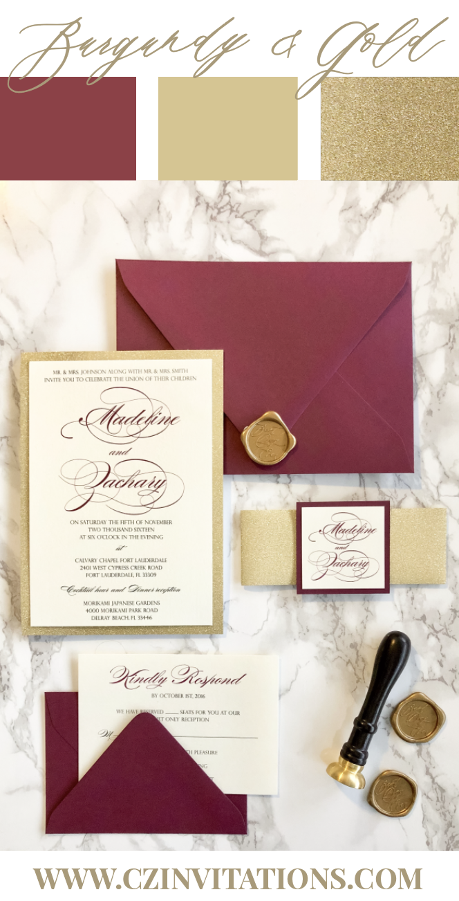 Burgundy and Gold are popular and trendy wedding colors and can be incorporated into any wedding season! The Gold Glitter adds a unique sparkle while the Burgundy adds a pop of color!