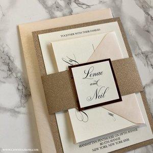 rose gold glitter wedding invitation - Gold Glitter Wedding Invitations