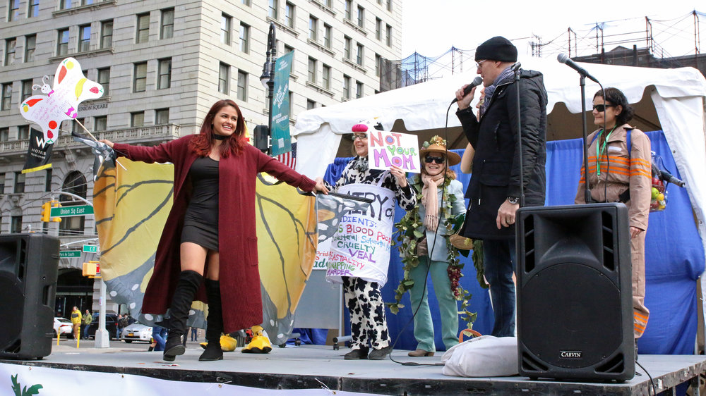 """Although we march out of this passion, this is a fun event for all, and everyone is encouraged to wear their most colorful and outlandish """"vegan"""" costumes and gear! -"""