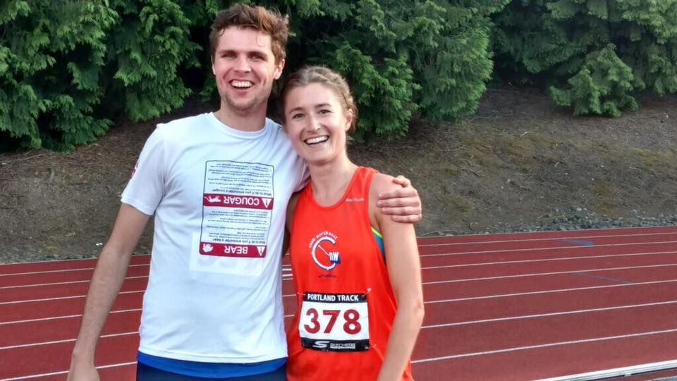 Lana Lacey celebrating a huge 5K PR with teammate, Alex Rockhill