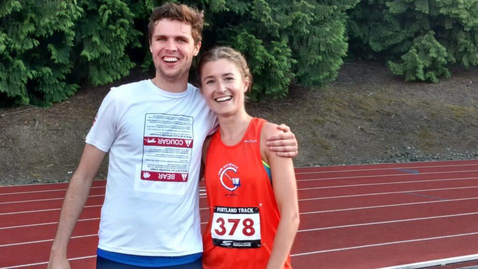 Lana Lacey celebrating a huge 5K PR with teammate, Alex Rockhill