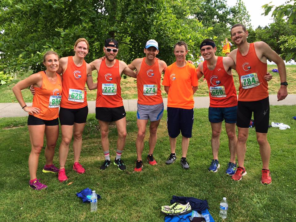 CNW teammates celebrating strong races all around after the Shore Run 5K and 10K