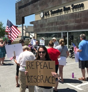 Defending ACA at Ben Sasse's Office.