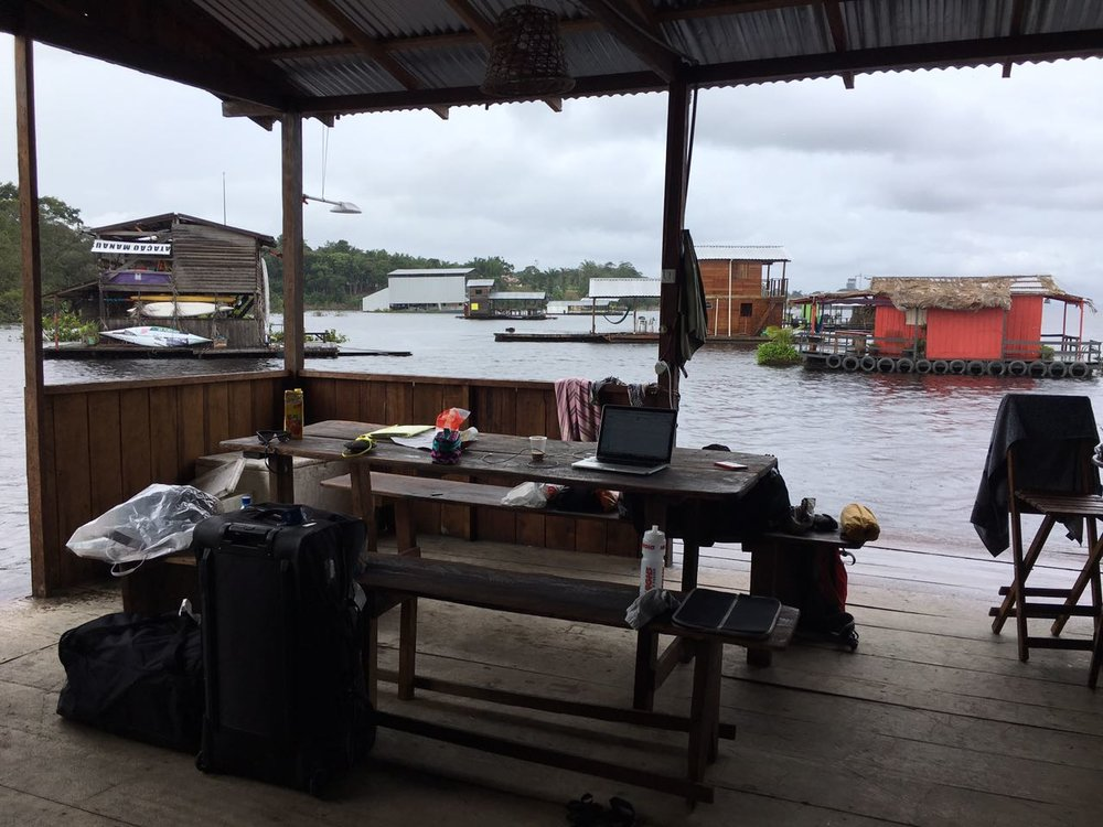 Mobile office on our house boat in the Amazon