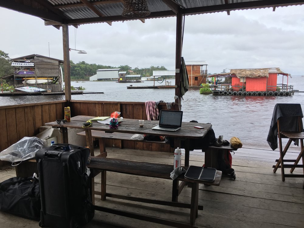 Houseboat office.