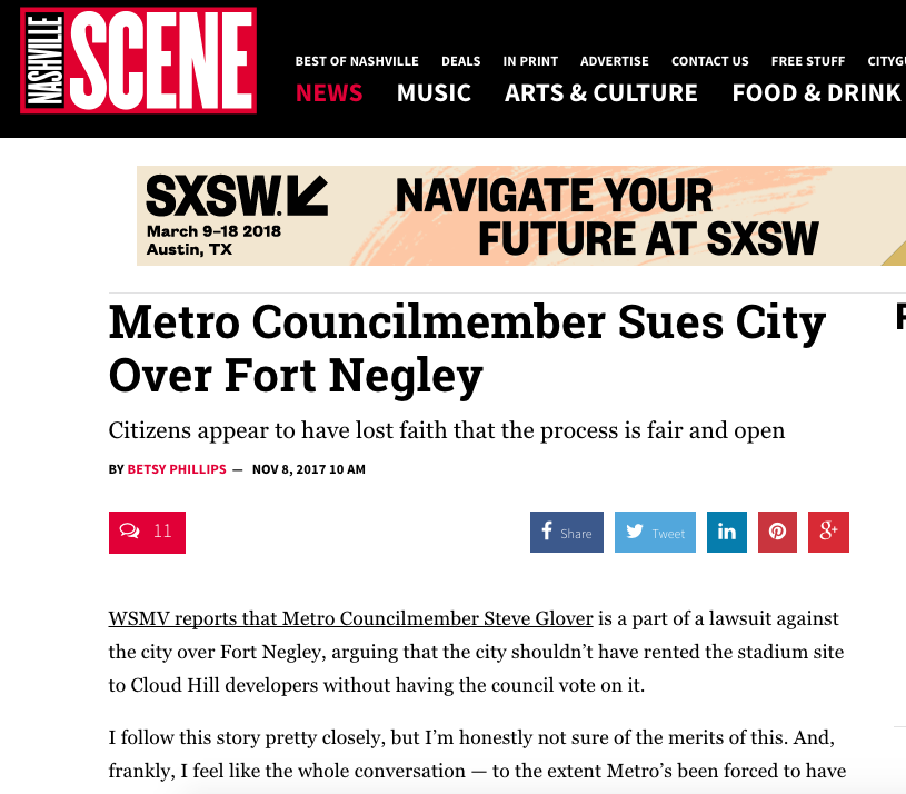 Metro Councilmember Sues City Over Fort Negley
