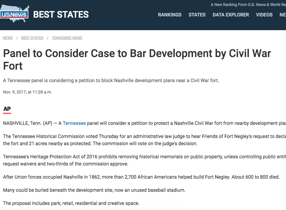 Panel to Consider Case to Bar Development by Civil War Fort