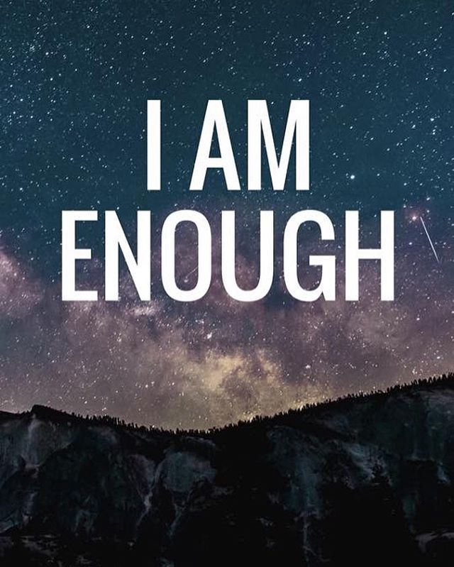 """I am participating in the #IAmEnough challenge with my good friend @inspiremeamanda for the next 30 days. Reminding ourselves that we are ENOUGH just as we are in this moment isn't usually something that people do.. but by making it a habit (for the next 30 days), it will be a new positive thought that your brain naturally has. Come along on this journey with me — Tell yourself that """"I Am Enough"""" every day for the next 30 days. You might be surprised how it changes your life! 💜✨"""