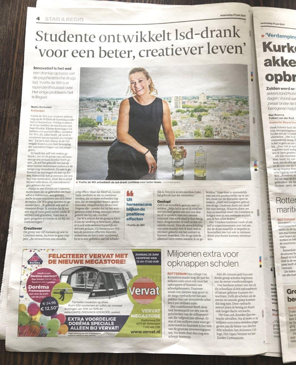'Studente ontwikkelt lsd-drank voor een beter, creatiever leven'   Artikel in de krant, het AD
