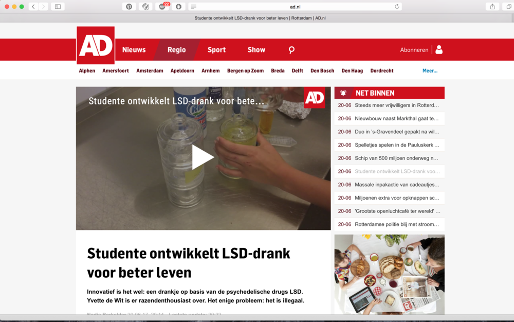 Online artikel + video item AD    https://www.ad.nl/rotterdam/studente-ontwikkelt-lsd-drank-voor-beter-leven~ad13f22a/