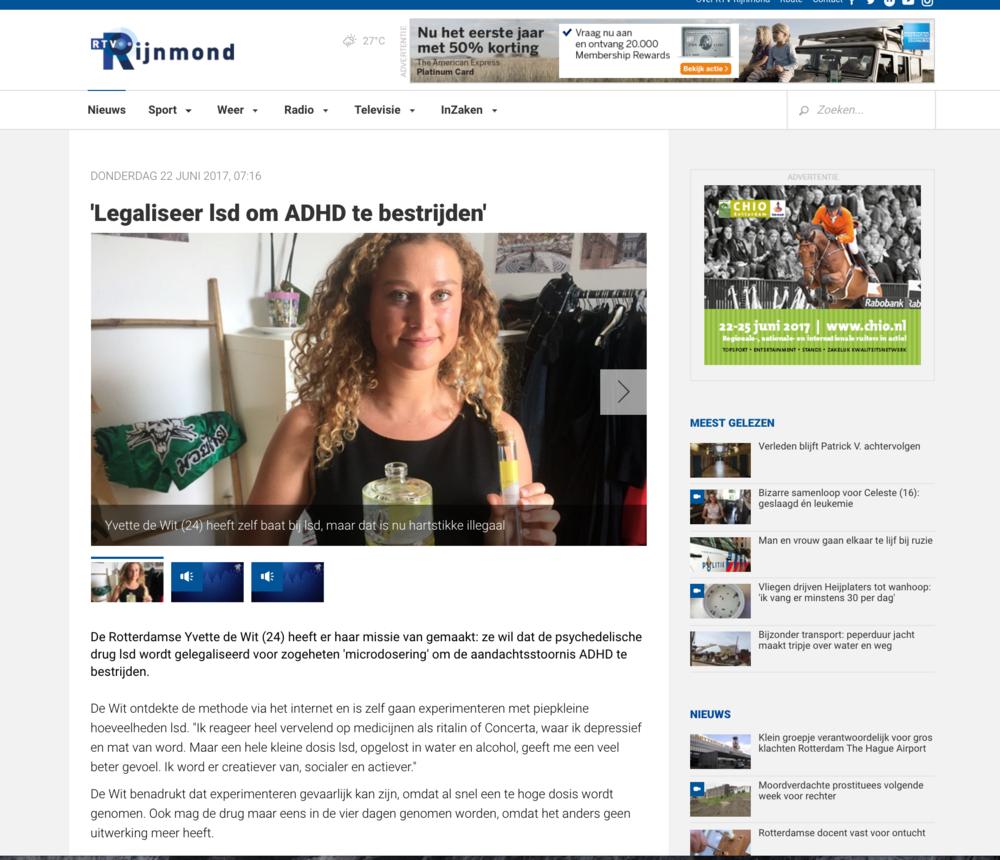 Rijnmond radio item + artikel    http://www.rijnmond.nl/nieuws/156290/Legaliseer-lsd-om-ADHD-te-bestrijden